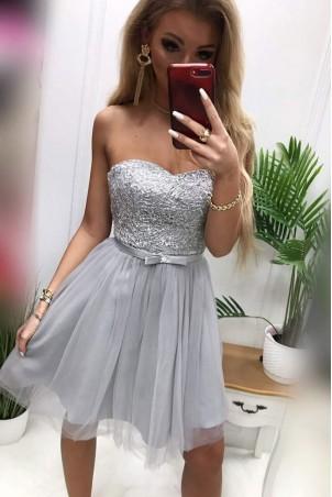 Tiulowa gorsetowa sukienka Eliza - szara