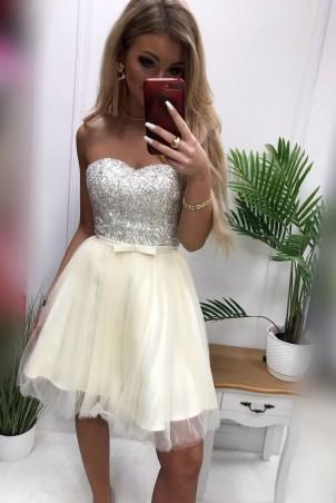 Tiulowa gorsetowa sukienka Eliza - kremowa