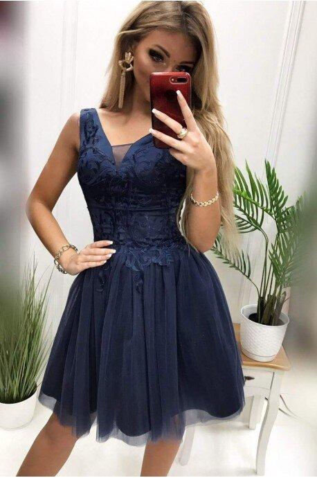 Tiulowa sukienka z gorsetowym wiązaniem Emma - granatowa