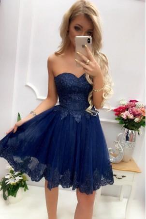 a2490f441f Tiulowa sukienka z gorsetowym wiązaniem Colette - granatowa