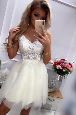 Tiulowa sukienka z gorsetowym wiązaniem Nina - ecru