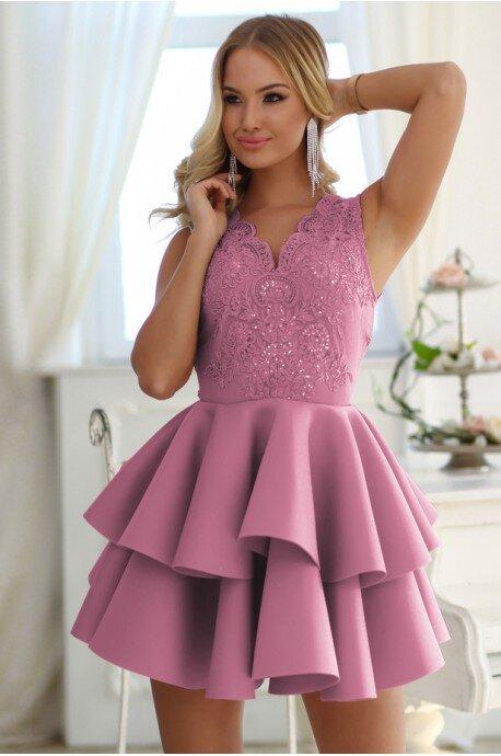 Rozkloszowana sukienka dwie falbany Lisa - różowa