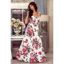 Sukienka bez pleców Summer - biała w róże