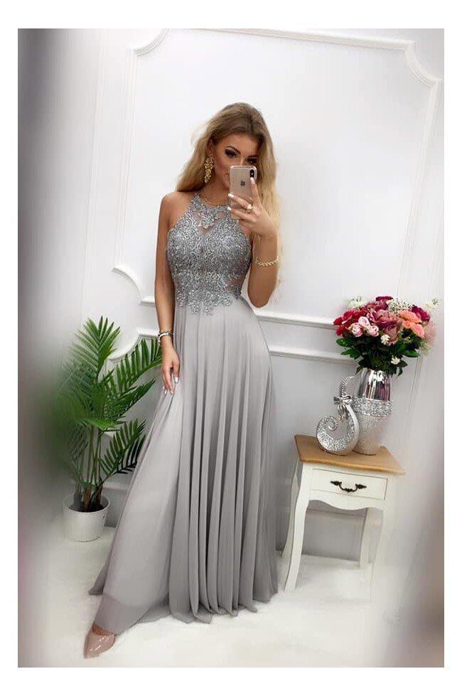 Sukienka wieczorowa Gina Maxi szara Pretty Clever Sklep