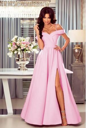 Długa suknia wieczorowa bez ramion Sandy - landrynkowa