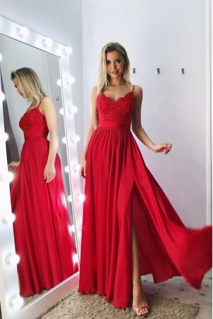 Długa sukienka na cienkich ramiączkach Sally - czerwona