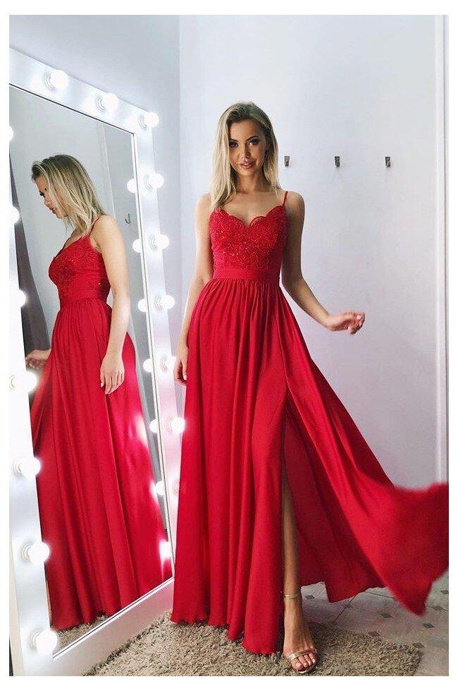 Długa sukienka na cienkich ramiączkach Sally czerwona