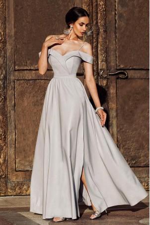 Długa suknia wieczorowa bez ramion Sandy - szara
