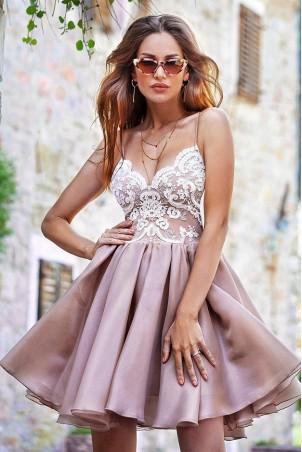 Ekskluzywna sukienka z koronkowym gorsetem Wenus - nude