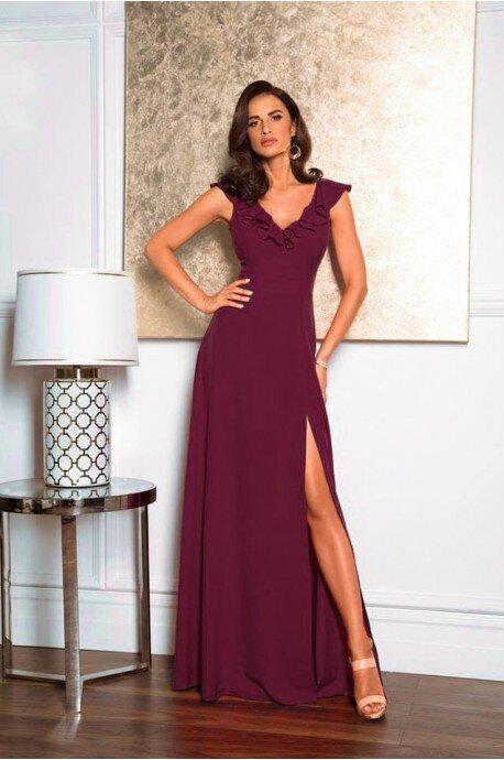 Długa sukienka z falbaną Angelina - bordowa