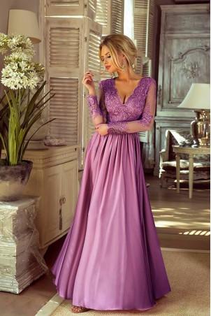 Długa koronkowa sukienka Ophelia - pustynny róż