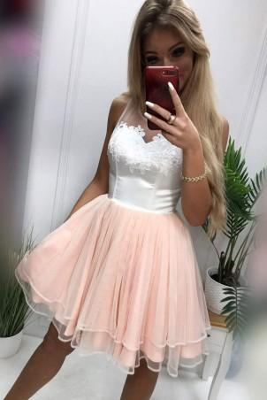 Tiulowa sukienka z gorsetem ecru Evelyn - brzoskwiniowa