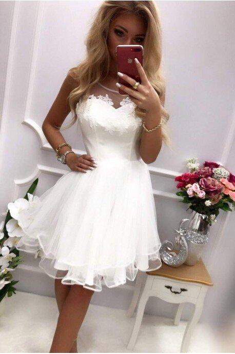 Tiulowa sukienka Evelyn - ecru
