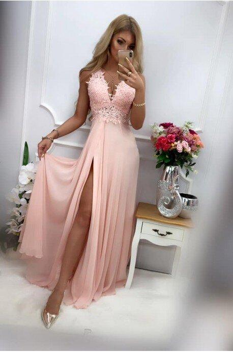 Długa suknia wieczorowa z ozdobnym gorsetem Tiffany - pudrowy róż
