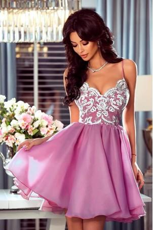 Ekskluzywna sukienka z koronkowym gorsetem Wenus - różowa