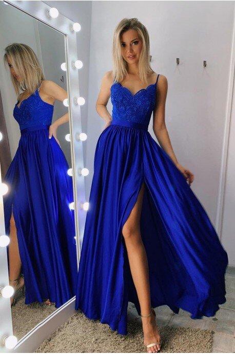 Długa sukienka na cienkich ramiączkach Sally - chabrowa