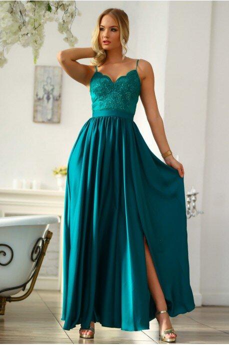 Długa sukienka na cienkich ramiączkach Sally - szmaragdowa