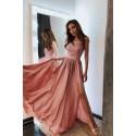 Długa sukienka na cienkich ramiączkach Sally - brzoskwiniowy róż