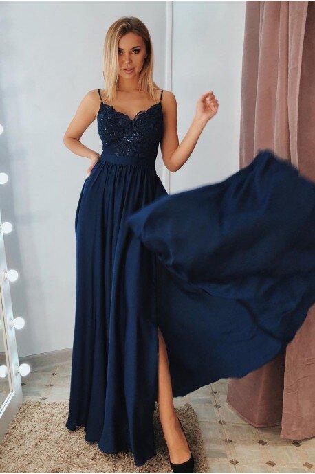 Długa sukienka na cienkich ramiączkach Sally - granatowa