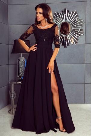 Długa sukienka z koronką Nathalie - czarna