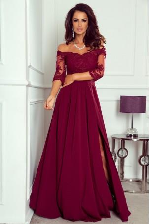 Długa sukienka z koronką Nathalie - bordowa