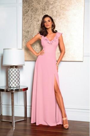 Długa sukienka z falbaną Angelina - różowa