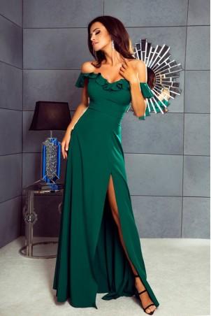 Długa sukienka z falbaną Angelina - butelkowa zieleń