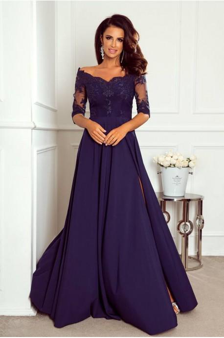 Długa sukienka z koronką Nathalie - granatowa