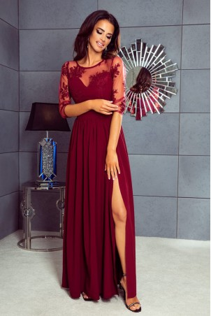 Długa sukienka z koronką Aurora - bordowa