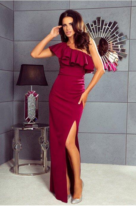 Długa sukienka na jedno ramie Andrea - bordowa