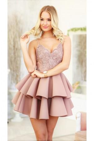 Koronkowa sukienka na wesele z piankową spódnicą Janet - beżowa