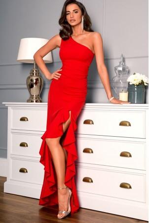 Długa sukienka na jedno ramie Carmen - czerwona