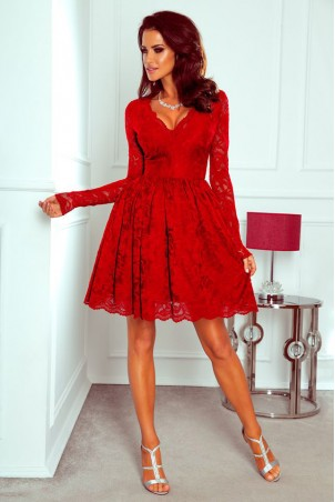 Koronkowa sukienka z długim rękawem Bridget - czerwona