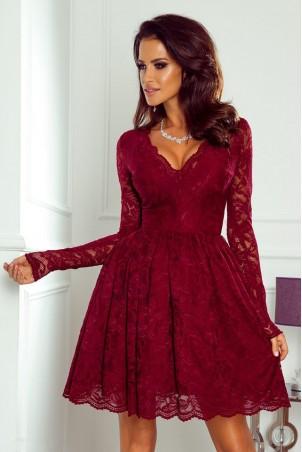 Koronkowa sukienka z długim rękawem Bridget - bordowa