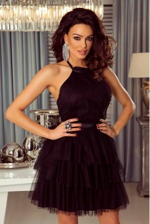 Tiulowa sukienka bez pleców Nicole - czarna