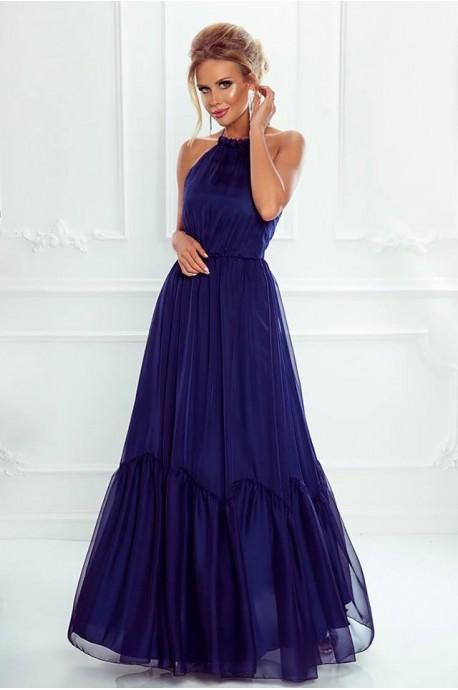 Zwiewna suknia wiązana na szyi Mystic - granatowa