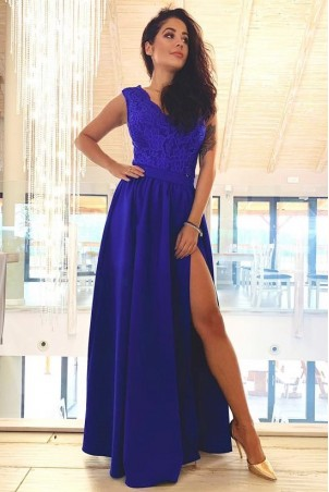 Sukienka wieczorowa Glamour długa - chabrowa