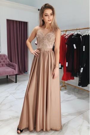 Długa sukienka na cienkich ramiączkach Sally - cappuccino