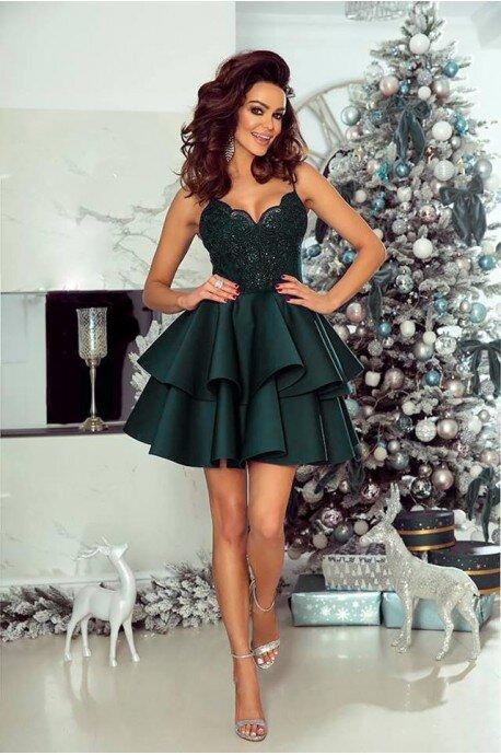 Koronkowa sukienka na wesele z piankową spódnicą Janet - butelkowa zieleń