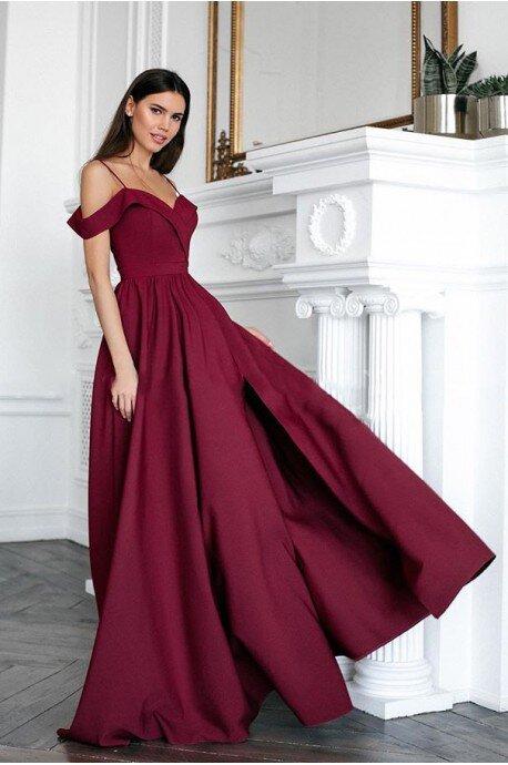 Długa suknia wieczorowa bez ramion Sandy - bordowa