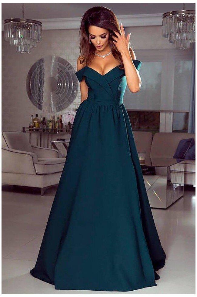 Długa suknia wieczorowa bez ramion Sandy butelkowa zieleń