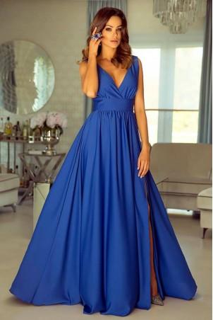 Długa suknia z głębokim dekoltem Wendy - chabrowa