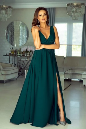 Długa suknia z głębokim dekoltem Wendy - butelkowa zieleń