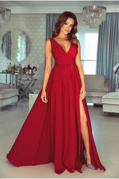 Długa suknia z głębokim dekoltem Wendy - czerwona