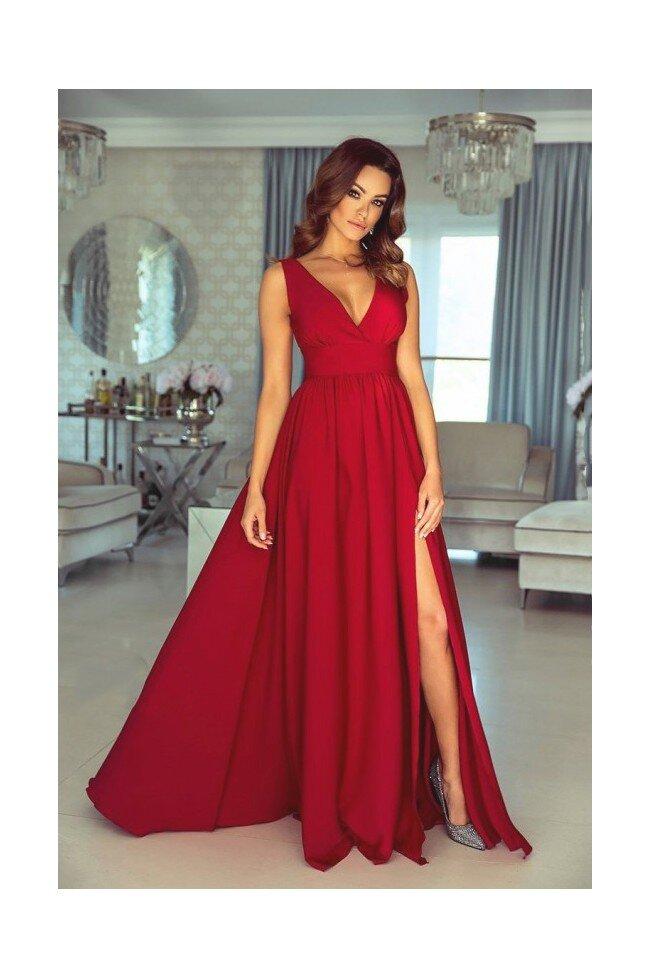 Długa suknia z głębokim dekoltem Wendy czerwona Pretty