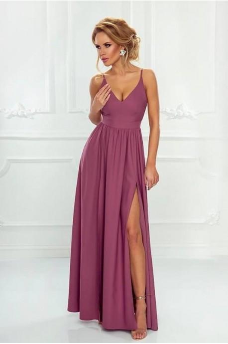 Sukienka z dwoma rozporkami Naomi - jagodowa