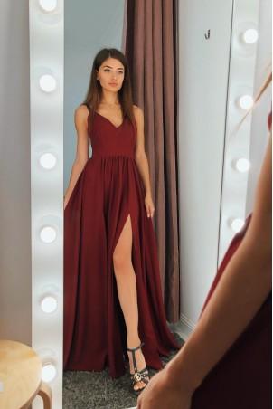 Sukienka z dwoma rozporkami Naomi - bordowa