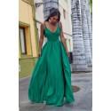 Sukienka z dwoma rozporkami Naomi - szmaragdowa