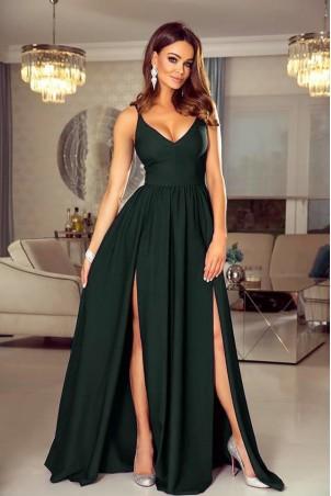 Sukienka z dwoma rozporkami Naomi - butelkowa zieleń