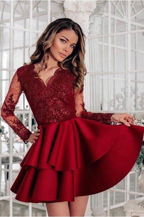 Koronkowa sukienka z piankową spódnicą na wesele Iris - bordowa